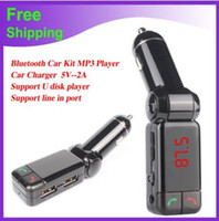 mini-land großhandel-BC06 Bluetooth Auto Ladegerät BT Auto Ladegerät MP3 BC06 MP3 MP4 Player Mini Dual Port AUX FM Transmitter