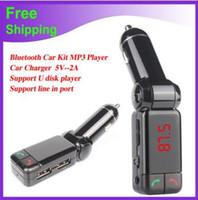 ingrosso jaguar mp3-Caricabatteria per auto bluetooth BT06 Caricabatteria per auto BT MP3 BC06 lettore mp3 MP4 mini trasmettitore doppia porta AUX FM