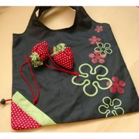 Wholesale Happy Travels - Wholesale- Happy Gifts 53 x 38cm Storage Bag Travel Home New Simple Strawberry Fruit Green Folding Convenience Shopping Bag