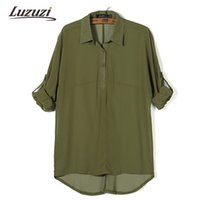 Wholesale Womens Office Shirts - Wholesale- 2017 Women Chiffon Blouse Womens Top Long Sleeve Solid Color Button Blouse Shirt Female Shirts OL Ladies Office Work Tops WS618