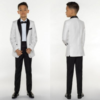 Wholesale Silver Kids Tuxedo - Boys Tuxedo Boys Dinner Suits Boys Formal Suits Tuxedo for Kids Tuxedo Formal Occasion White And Black Suits For Little Men Three Pieces
