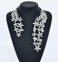 Wholesale Cuff Choker - Luxury Big Necklace for Women Fashion Novelty Jewelry with Flower Crystal and Gem Maxi Statement Choker 1 pc Cuff Collar Choker