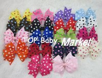 Wholesale Sale Kids Off - 18%OFF hot sale Wholesale polka dot ribbon Baby Boutique hair bows WITH CLIP,kids hair clips,Girls' hair accessories,free shipping