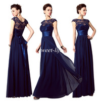 Wholesale Long Maternity Bridesmaid Dresses Chiffon - 2015 Cheap Evening Dresses Navy Blue Lace Sheer Neck Sash A-Line Cap Sleeve Vintage Bridesmaid Dress In Stock Long Party Prom Dress Gowns