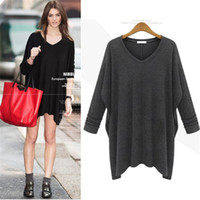 Wholesale Womens Tunic Shirt Dresses - 2015 New Womens Fashion Long Sleeve Tunic Tops V Neck Shirt Casual Tee Stretch Blouse Mini Dress 2015 Freeshipping