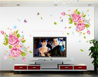 Wholesale Luxury Flower Wall Decals - A Grand Huge Luxury Home Decor Vinyl Removable Flower Wall Stickers Beautiful Peony Art Mural Decals Living Room China Flower