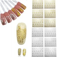 Wholesale French Nail Decals - Fashion Beauty Flower Nail Stickers Manicure Decals Stamping French Nail Art 3D DIY Tips Beauty Tools