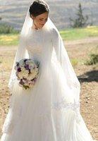 vestido de novia musulmán satinado al por mayor-2019 Vestidos de boda musulmanes Mangas medias con cuello alto Apliques Tul satinado Longitud del piso Vestidos de novia modestos Vestidos de novia Cremallera