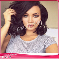 Wholesale Blonde Black Mix Cosplay Wigs - Short bob wig full lace human hair wigs for black women lace fornt human hair wigs with free part