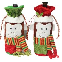 Wholesale Christmas Decorations Wholesale Online Sale - Top Sale Monkey Wine Bottle Covers Bag Merry Christmas Table Decoration Festival Wine Bottle Cover Bags Gift Wrap Party Decor Cheap Online