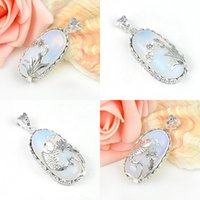 Wholesale Antique Sterling Silver Necklaces - 5 Pieces 1 lot Antique Fire Oval Moonstone Crystal 925 Sterling Silver Russia American Australia Wedding Pendant Necklaces