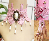 Wholesale Semi Precious Stone Necklace Sets - Bohemia Knit Bridal Accessories Set Pink Custom Made Wedding Necklace Earrings Bracelet 2016 New Fashion Knit Accessory With Crystal Rhinest