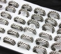Wholesale Size Spinners - Jewelry Wholesale lot 36pcs 7MM Stainless Steel Silver Tone Chain Rings Rotating Spinner Ring Men Women's Gift MR52