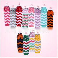 Wholesale Girls Chevron Tutu - 2016 Spring Baby chevron stripe tutu tulle baby leg warmer Kneepad Boot Crochet Legs Warmers Leg Warmers Boot Boot Warm Chiffon Socks D6402