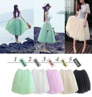 2015 Fashion Girls Sommer Tüll Rock Prinzessin Fairy Style 5 Schichten Midi Röcke Bohemian Gaze Big Swing Tutu Kleid