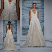 Wholesale Pictures Mark - 2015 New Mark Zunino Wedding Dresses Deep V Neck Sequins Backless A Line Sweep Train Tulle Custom Made Glamorous White Plus Size Bridal Gown