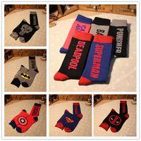 Wholesale Superman Sport Dhl - Free DHL Hot Mens socks Sports Sock Cotton socks Batman Socks Superman socks Super Hero socks For Men Stockings LA126-7