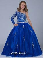 Wholesale One Strap Flower Girl Dresses - 2016 New Exquisite Long Custom Made Beading One-shoulder Ball Gowns Straps Flower Big Girls Party Dress Kids Dance Girls Pageant Dresses