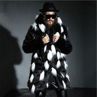 Wholesale Men Winter Jacket Fox - Wholesale- New winter fashion men fox fur coat Faux fur slim fit leather jacket,Casual hooded splice long overcoat section Plus size S~4XL