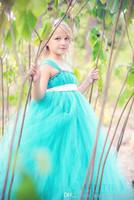 knickentenband großhandel-2015 Teal Blumenmädchen Tutu Kleider mit Bogen Schärpe Bodenlangen Blumenmädchenkleider Blumenmädchenkleider für Hochzeiten