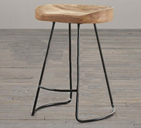 Wholesale Fashion stool The village of retro furniture Vintage metal bar chair anti rust treatment Commercial Bar furniture sets wood bar stool