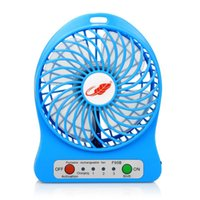 ingrosso ventilatori usb desktop-Portable Rechargeable USB Fan 3 Gear Speed Desk Mini Air Cooling Cooler Desktop Fan with 18650 Battery and LED light For Trave Camping
