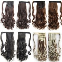 Wholesale Tie Ponytail Hairpiece - Salon Tie Up Clip in Pony Tail Ponytail Hair Extensions Hairpiece Curly New