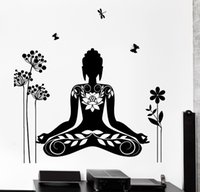 Removable oriental room design - 2016 Wall Decal Buddha Yin Yang Oriental Lotus Blossom Meditation OM Wall Sticker Home Decor removable wall decals
