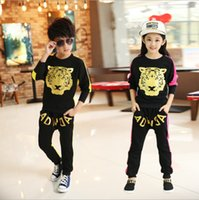 Wholesale Shampooers Set - Wholesale- Retail Children Tiger Print sport set jogging sportswear coat+Harem Pants for boys girls tracksuits shampooers Hip Hop clothes