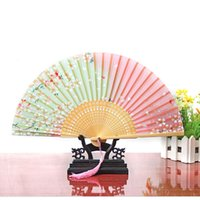 1pc Estilo chinês Handheld Folding Fans Decor Decor Supplies Cherry Blossom Print Lace Bamboo Fans Wholesale