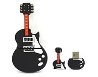 Wholesale Guitar Flash Memory - Brown Guitar 64GB 128GB 256GB 2.0 USB Flash Memory Pen Drive stick with Free gift box