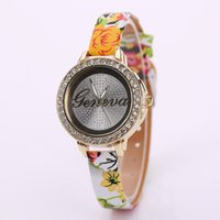Wholesale Geneva Hours - 2016 Luxury Watch for Women Geneva Watch Rhinestone Leather Wristwatches Female Hours Dress Watches Relogio Feminino XR1779