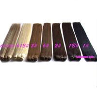 extensions de cheveux brésiliens mixtes remy achat en gros de-EXTENSIONS DE CHEVEUX Brésiliens Remy Humains Extensions Droite Vague # 1 # 1B # 2 # 4 # 27 # 613 longueur de mélange 12-24 pouces chaîne de cheveux brésiliens