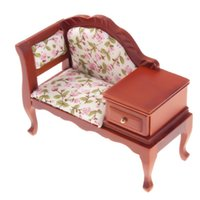 Wholesale High Backed Sofas - Wholesale- 1:12Dollhouse Miniature Thumbnail Coffee High-backed Sofa With Drawer Vintage Pastoral Style Flower Toy Furniture Accessory