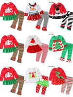 stickerei rüschen großhandel-7 Arten Baby Mädchen Jungen Weihnachten Outfits 2 stücke gesetzt (t-shirt + hose) Kinder Cartoon Stickerei Weihnachten Deer sanda kleid Streifen Rüschen Hosen Anzüge