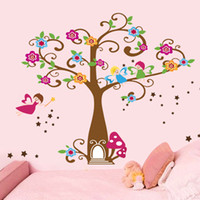Wholesale Wall Art Kids Playroom - Little Elf Magic Tree House Wall Decal Stickers Decor for Kids Room Nursery Playroom Home Decorative Mural Art Stickers