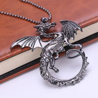 bijoux de thrones de jeux achat en gros de-Game Thrones bijoux en alliage Targaryen Dragon pendentif collier Vintage Song of Ice
