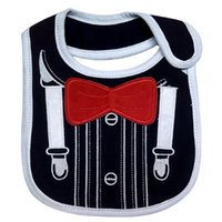 Wholesale Bib Tuxedo - 3 Layers Waterproof Baby Boys Tuxedo Bibs Red Bow ties Gentleman NewBorn Dinner Feeding Bibs Saliva Towel Free Shipping
