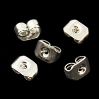 Wholesale Studs Butterfly Backs - 1000pcs -DIY Jewelry Earring Findings 4x5mm Ear Studs Butterfly Backs Earrings Plugs Stopper Charms Fit Earring Making DH-FRB010