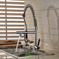 Chrome Solid Brass Kitchen Faucet Double Sprayer Vessel Sink Mixer Tap Deck Mounted Sinlge Handle