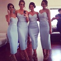 Wholesale Light Blue Dresses For Weddings - Light Blue Tea Length Bridesmaid Dresses 2015 With Straps Sequins Beaded Beach Sheath Women Formal Occasion Dress For Wedding Party