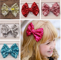 Wholesale Large Barrettes Colors - Baby barrettes new Europe and cute girls children sequins hairpin large bow hair jewelry 11 colors