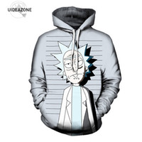 Wholesale Sublimation Clothes - Wholesale- UIDEAZONE 2017 New Rick and Morty Pullover Hoodie Funny Mugshot Artwork Best Festival Clothing Sublimation Printed Plus Size 3XL