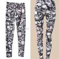 Wholesale Gothic Clothing Wholesale - Wholesale-2015 New Arrival Brand Fashion Gothic Punk Rock Skull Printed Leggings For Women Girl Leggings Women's Clothing Free QFNrIP