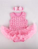 bebek hattı romper elbisesi toptan satış-Bebek Yenidoğan Çocuklar Gül Kolsuz Tutu Bale romper elbise bandı Bebek Romper Elbise