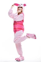 Wholesale Cheap Cosplay Outfits - Lovely Piglet Kigurumi Pajamas Animal Suits Cosplay Outfit Halloween Costume Adult Garment Cartoon Jumpsuits Unisex Cheap Animal Sleepwear