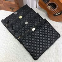 Wholesale Celebrity Bags Genuine Leather - Fashion Brand Clutches Genuine Leather Evening Bag Quilted Hasp Celebrity Leather Clutch Bag 7010 Lambskin Caviar XJ#108 Boy Wallets