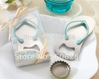 Wholesale Slippers For Wedding Favors - 100pcs lot Free shipping to Singapore Unique Metal Flip Flop Beer bottle opener Slipper Wine Opener for Wedding Party Favors