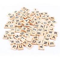 Wholesale Wood Scrabble Tiles - 100pcs set Wooden Alphabet Scrabble Tiles Black Letters & Numbers For Crafts Wood C3125