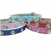 Wholesale Dog Harness Diamonds - Diamond Dog Collar Personalized Pu Leather Collar For Dogs Puppy Pet Products For Animals